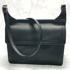 Fossil Black Leather Crossbody Travel Wallet Bag